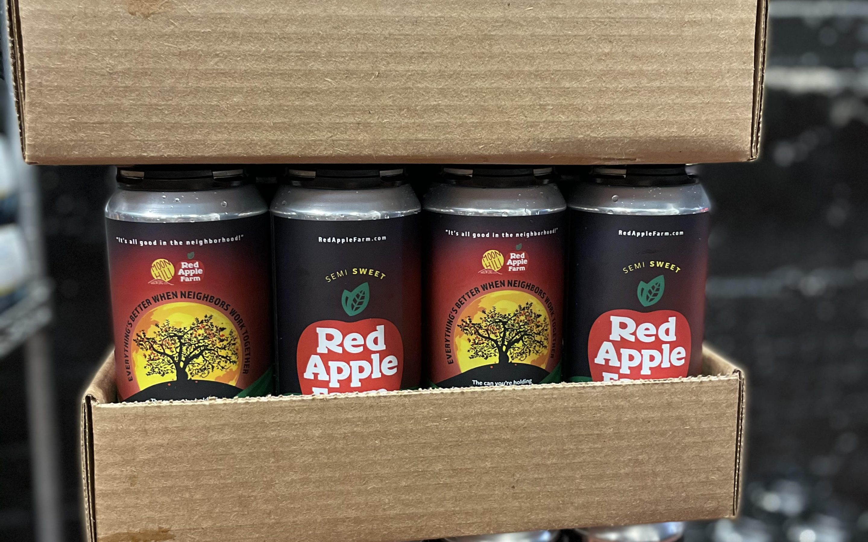 Red Apple Farm Semi-Sweet Hard Cider is in Cans